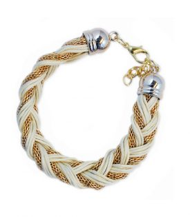 Armband Braided Gold White